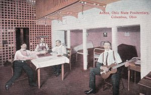 Ohio Columbus State Penitentiary Annex Guards Playing Checkers & Guitar sk204