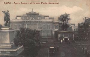 Egypt Cairo Opera Square and Ibrahim Pacha Monument Statue Postcard