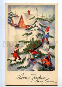 206781 NEW YEAR Dwarfs GNOME on X-mas Tree Vintage postcard