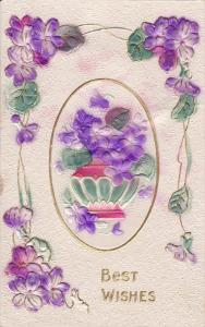 Embossed, Best Wishes Violet Flowers in vase, Gold details 00-10s