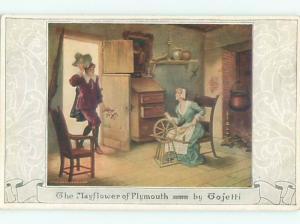c1910 Mayflower Woman Using Spinning Wheel PLYMOUTH MASSACHUSETTS MA AC4273