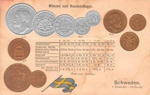 Coin Postcard, Old Vintage Antique Schweden, Sweden