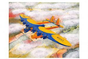 Art Postcard, Kalinin K-7 Russian experimental aircraft, Soviet Union, CCCP 24O