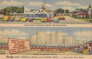 SALT LAKE CITY, Utah, 1930-40s; Covey's New America Motel and Coffee Shop, Ma...