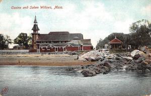 Salem Willows Massachusetts Casino Exterior Beach Antique Postcard K20308