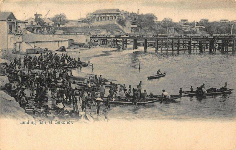 Ghana Gold Coast Landing fish at Sekondi postcard