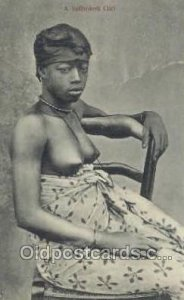 A Saffrokoh Girl African Nude Postal Used Unknown big indentation in card, wr...