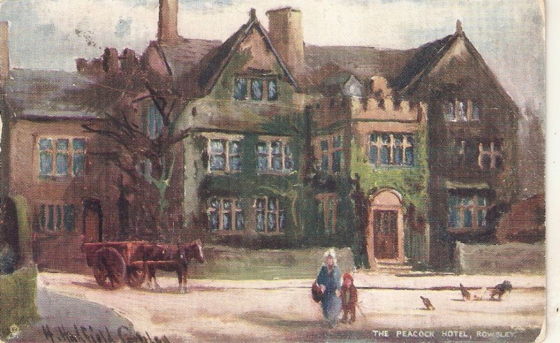 H.H.Cubley. The Peacock Hotel. Rowley.Horsecart Tuck Picturesque Derbushire PC