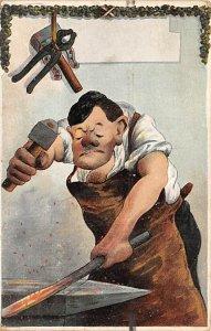 Man Pounding on Steel Cartoon Occupation, Blacksmith Unused