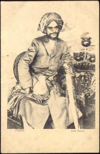 yemen, ADEN, Arab Prince with Sword (ca. 1899)