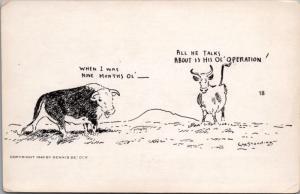 'When I was 9 Months Ol' Operation Bull Steer Humor WM Standing Art Postcard D40