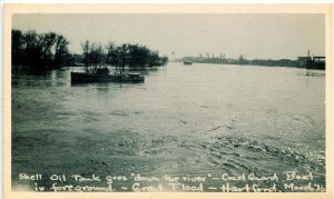 CT - Hartford. Great Flood, March 1936. Shell Oil Tank Floating in River
