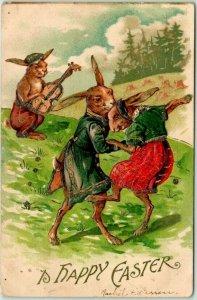 1910s HAPPY EASTER Embossed Postcard DRESSED RABBITS Dancing / Fiddle Violin