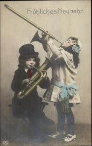 German New Year - Kids Music Instruments Brass c1910 Real Photo Postcard