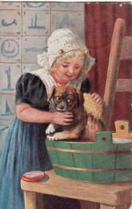 Pretty maiden girl puppy dog bathing time early postcard 1911