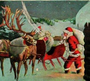 Vtg Carte Postale 1916 Un Joyeux Noël pour Vous - Santa Avec Luge & Renne