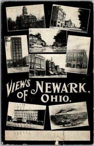 1908 VIEWS OF NEWARK Ohio Postcard Multi-View Street Scenes / Foundry View