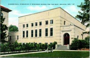 Vtg Lino Postal Hannon Hall Gymnasium En Wisconsin Escuela Para Deaf Delavan Wi