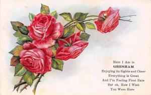 Gresham NE Embossed Pink Rose Greetings: Enjoying Sights & Cheer Poem~1909