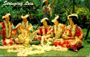 Hawaii Honolulu Native Girls Stringing Leis 1998