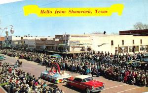 Shamrock TX 1957 Chevrolet St Patricks Day Parade Store Fronts Postcard