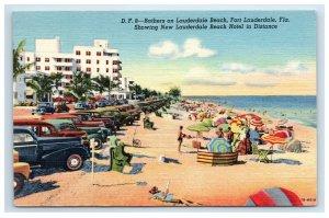 1950 Fort Lauderdale Beach Hotel Postcard D.F. 8 Bathers Linen