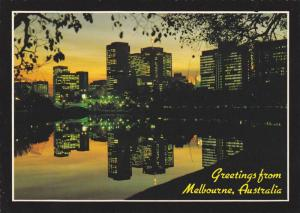City Lights Reflect in the Yarra River at Dusk, Melbourne, Victoria, Australi...