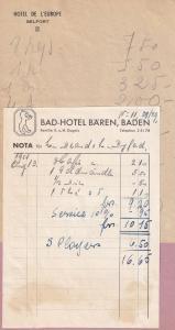 Bad Hotel Baren Baden Belfort 2x Old Hotel Receipt s