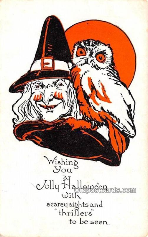 Halloween Post Card Old Vintage Antique Halloween Post Card Owl, Witch
