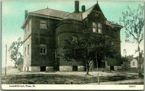 Vintage PANA, Illinois Postcard LOWELL SCHOOL Building View w/ 1930 Cancel