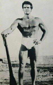 Steve Reeves Shirtless Beefcake Postcard Bodybuilder Original NOS Gay Interest