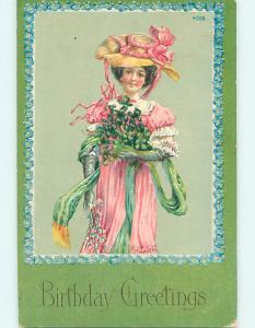 Pre-Linen fashion PRETTY WOMAN IN PINK DRESS WITH GREEN SCARF AND GLOVES HJ3954