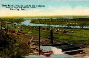 Iowa South Dakota & Nebrasske Showing Sioux and Missouri Rivers Sioux City