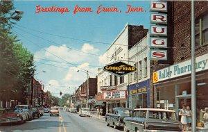 G44/ Erwin Tennessee Postcard Chrome Main Street Stores Good Year Autos