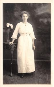 Fitchburg MA Lady in White w/White Flowers in Vase~Richard Kautto RPPC c1910