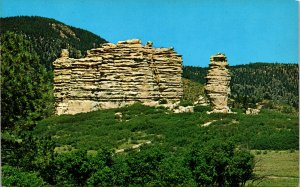 Cathedral Rocks nr US Air Force Academy Colorado Springs CO Postcard unused '50s