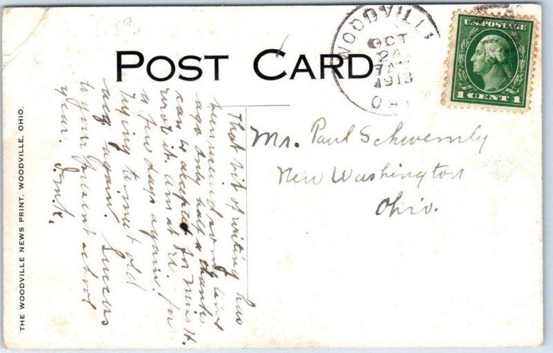 Woodville, Ohio Postcard FOOT BRIDGE River View w/ 1913 OH Cancel