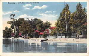 Allens Beach Canoeing Waterfront Shoreline Antique Postcard K64414