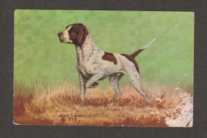 POINTER DOG Vintage Post Card Lewis Dude Larson Print