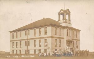 Herman MN Students Gather Outside~Some Hang Out Windows of Old School~RPPC 1908