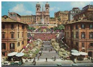 Postcard - Roma - Spain's Square and the Trinita Dei Monti - Rome Italy