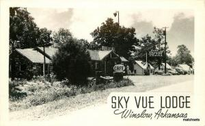 Autos 1940s Sky Vue Lodge Winslow Arkansas Cafe RPPC real photo postcard 11368