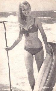 Arcade Card,Sexy Woman, ca. 1950-60's Girl w Bikini on Beach, Surf