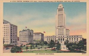 California Los Angeles Civic Center Showing City Hall State Building Hall Of ...