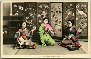 Vintage 1910s JAPAN Postcard Geisha Girls Mieko Kimono Samisen Fan HAND-COLORED