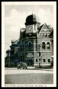 dc1212 - COATICOOK Quebec Postcard 1942 Post Office. Old Cars