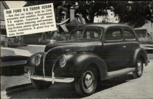 Hornburg Motor Co Hartland WI Overprint 1938 Ford V8 Tudor Sedan Car Postcard