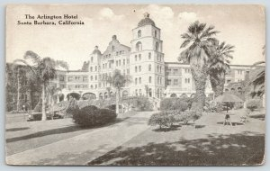 Santa Barbara California~Arlington Hotel~Vintage Cars~c1910 B&W Postcard