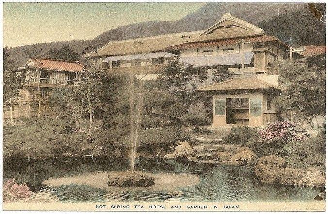 Japan HOT SPRING TEA HOUSE & GARDEN vintage colour postcard. Toned stained back