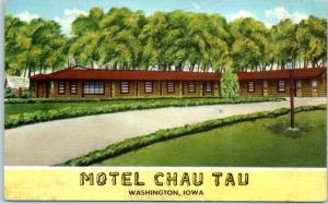 Washington, Iowa Postcard MOTEL CHAU TAU Roadside Linen c1950s Unused